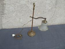 LAMPE EN LAITON ANCIENNE REGLABLE ABAT JOUR EN VERRE PRESSE