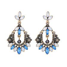 Boucles d`Oreilles CLIP ON Doré Chandelier Bleu Opale Gris Fin Retro B17