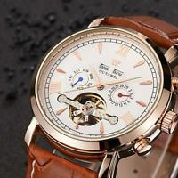Mens Flywheel Leather Quality Luxury Bling Skeleton Automatic Mechanical Watches