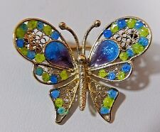 VTG. CHINESE EXPORT 800 SILVER VERMEIL CLOISONNE ENAMEL BUTTERFLY BROOCH PIN