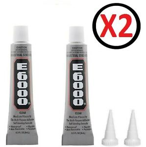 E6000 Glue Industrial Strength Multi Purpose Clear Adhesive With Nozzle 2 x 9ml