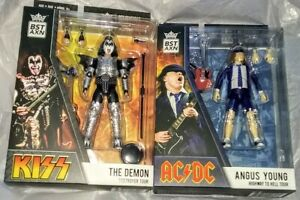 2021 BST AXN KISS THE DEMON GENE SIMMONS ACDC ANGUS YOUNG FIGURES LOYAL SUBJECTS