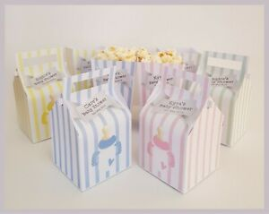 Personalised Baby Shower Cupcake & Small Popcorn Boxes - Multiple Colours