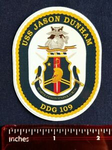 USS Jason Dunham DDG 109 Destroyer Navy Ship Crest Mini Sticker Decal
