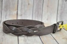 J. FOLD Genuine Leather Partially Braided Brown Casual Belt Sz 34 NEW $49.50