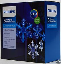 philips 5 cool whiteblue hanging snowflakes lights white wire nib