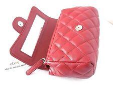CHANEL Dark Red Leather Mini Classic Clutch Bag Mirror SHW CC Cosmetic Case NIB