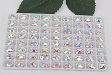 72pcs 7x10mm Sew On Rhinestones Colour Glass Crystal  Elliptic Flatback