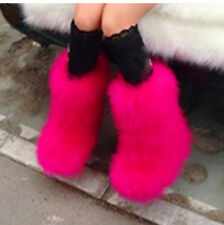 Women Real Genuine Ostrich Feather Furry Fuzzy Fur Warm Snow Boots Flats Size5-9