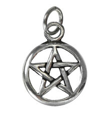 Small Sterling Silver Pentacle Pentagram Charm Jewelry - Wicca Wiccan Pagan