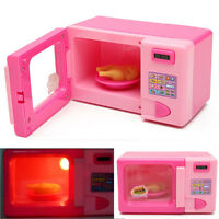 Kids Pretend Play Furniture Set Miniature Pink Microwave Oven Children Play Toys