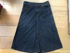 M&S Size 8 10 UK Charcoal Grey Black Denim A Line Skirt W28 L27 Below Knee
