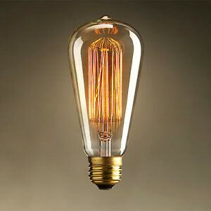 40W Halogen Bulb 220~240V ST64 E27 Screw Holder Yellow Lights Globes Fixtures