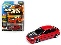 1/64 Johnny Lightning 1998 Honda Civic Custom Diecast Model Car Red JLCP7173