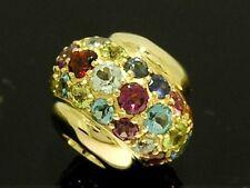 Bd040- Genuine 9K Gold NATURAL Gems Colorful Pave Bead Multi-Gem Amethyst,Garnet