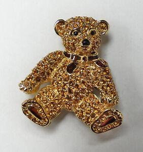 Swarovski Crystal Jewelry Gold Toned Teddy Bear Pin Brooch - b