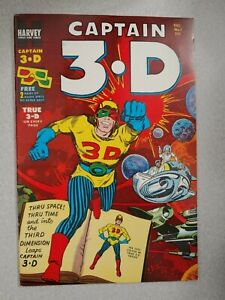 CAPTAIN 3.D #1 1953 GOLDEN AGE HARVEY COMIC VF/NM W/GLASSES, KIRBY DITCO!