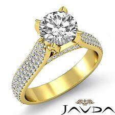 Halo Studded Round Diamond Engagement Ring GIA H VS1 18k Yellow Gold 2.95ct