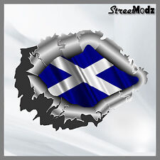 RIPPED TORN METAL Car Sticker Scottish Flag Vinyl Decal JDM Bumper 4x4