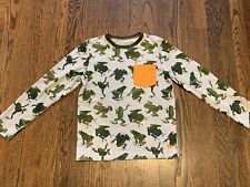 Mini Boden Boys Camouflage Frogs Long Sleeve T SHIRT 9 10 9-10Y Top Pocket Tee