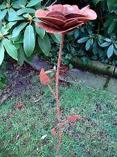 Edelrose Rose mit Stiel H.80 aus Metall Rost Edelrost Gartendeko Bodenstecker