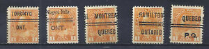 CANADA SELECTION OF ADMIRAL TOWN PRECANCELS SCOTT 106 USED (BS18347)