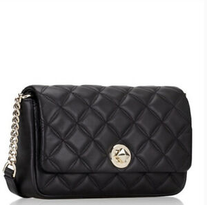 Kate Spade Natalia Small flap crossbody bag Clutch Quilted Leather Black