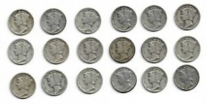 Lot of 18 Mercury Dimes 1940 PDS 1941 PDS 1942 PDS 1943 PDS 1944 PDS 1945 PDS
