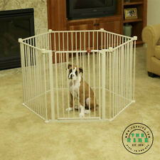 Dog Gate Portable Pet Playpen Metal Safety Baby Gate Home Yard Indoor 28'' White