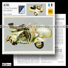 #050.03 Scooter ACMA VESPA 125 + Side-car GEKNO 1952 Fiche Moto Motorcycle Card