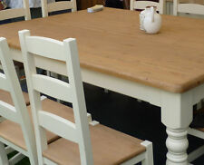 Six (6) Foot (ft) Dining Table and Six Chairs painted Farmhouse Style