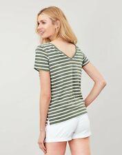 Joules Womens Alverton Back V Neck Top - Khaki Stripe