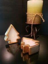 Set Of 2 Dansk Gold Christmas Tree Candles NEW