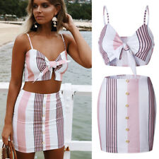 Womens 2PCS Bandeau Strappy Crop Top Mini Skirt Summer Co-ord Set Stripe Outfits