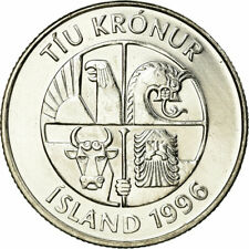 [#770444] Coin, Iceland, 10 Kronur, 1996, MS(63), Nickel plated steel, KM:29.1a
