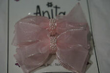 Girls Small Set of Hairbows French Clip White Pink Gray Blue Light Purple Beads