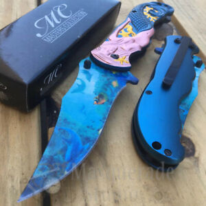 Masters Collection Collectors 3D Mermaid Spring Assisted Pocket Knife [Blue]