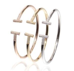 Luxury Women Stainless Steel T Wire Cuff Bangle & Love Bracelet Fashion Jewelry