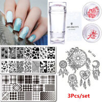 3X Manucure Kit Nail Art Stamping Pochoir Template Plaque Gel UV Vernis à Ongle