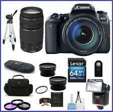 Canon EOS 77D DSLR Camera w/ 18-135mm & 75-300mm Lenses 64GB PRO Bundle