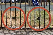 LDN Bike Cartel orange deep dish machined rims - Used but in Good Condition