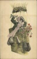 Mary Farini - Beautiful Woman Hot Air Balloon Basket c1910 Postcard