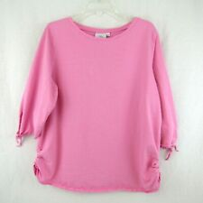 Hot Cotton Woman Pink Half Tie Sleeve Shirt Top Blouse Plus Size 1X Ruched Sides