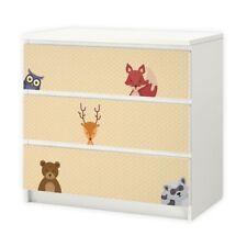 nikima - 014 Möbelfolie für IKEA MALM - Waldtiere 2 Punkte - 3 Schubladen Aufkle