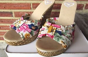 Madeline Floral Wicker Beige Wedge Heel Peep Toe Slip On Shoe Size 8.5 New