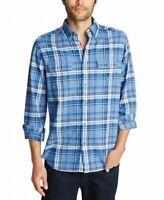 Nautica Mens Shirt Blue Size 3XL Button Down Classic Fit Plaid Print $79 #169