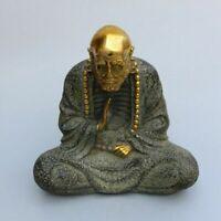 "8"" Exquisite Buddhism Copper Sit Arhat Damo Bodhidharma Dharma Buddha Statue"