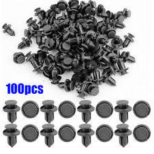 100Pcs Black Plastic Rivet Car Fender Bumper Push Pin Clips 10mm Hole for Toyota