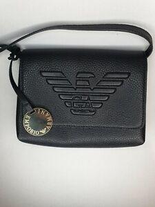 EMPORIO ARMANI Black Logo Embossed Genuine Leather Bag