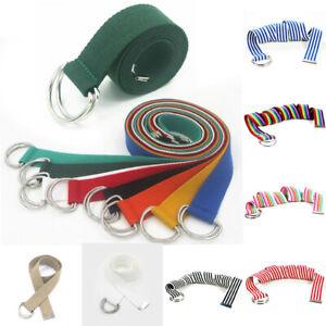 1Pc Unisex Double Rings Canvas Waist Belts Ring Shape Solid Waist Casual Belt